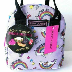 Betsey Johnson UNICORNS RAINBOW LUNCH TOTE